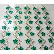 Zöld virágos cikk-cakk, öntapadós dekorkövek
