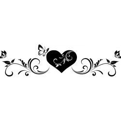 Szív pillangókkal, falmatrica