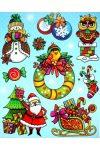 Karácsony, színes, csillámos ablakmatrica
