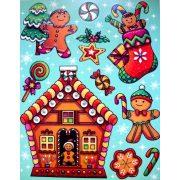 Mézeskalács figurák, színes, csillámos karácsonyi ablakmatrica a Dekormatricák webáruházban