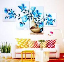 Kék virágok, 4 részes, 3D falmatricaszett