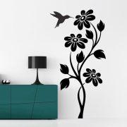 Kecses virág kolibrivel, virágos falmatrica a Dekormatricák Falmatrica Webáruháztól