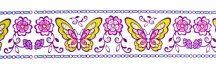 Színes pillangók, bordűr kontúrmatrica