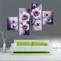 Lila virágok, 4 részes, 3D falmatricaszett