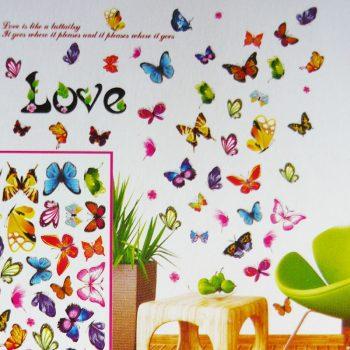 Színes pillangók, 3D falmatrica
