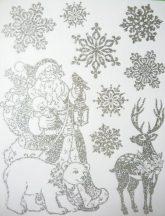 Télapó, ezüst csillámos karácsonyi ablakmatrica a Dekormatricák webáruháztól