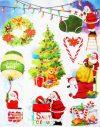 Santa Claus, csillámos karácsonyi ablakmatrica