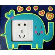 Elefánt, éjjel világító villanykapcsoló matrica