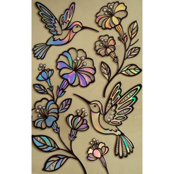 Kolibrik virágokkal, színes, köves kontúrmatrica