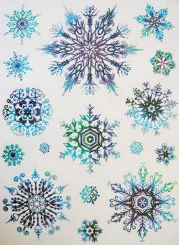 Hópelyhek(3), csillámos karácsonyi ablakmatrica a Dekormatricák webáruházban