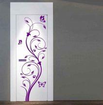 Nonfiguratív virág pillangókkal, ajtómatrica