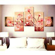 Rózsaszín virágok, 5 részes, 3D falmatricaszett