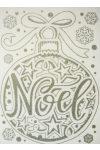 Noel, ezüst csillámos karácsonyi ablakmatrica