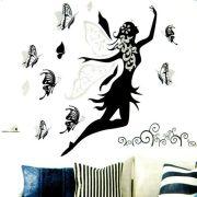 Tündér pillangókkal, falmatrica ezüst glitterrel és kövekkel a Dekormatricák webáruházban