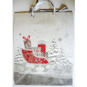 Szán ajándékokkal, karácsonyi ajándéktáska, L méret a Dekormatricák webáruháztól