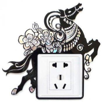 Ló, kontúrmatrica villanykapcsoló köré