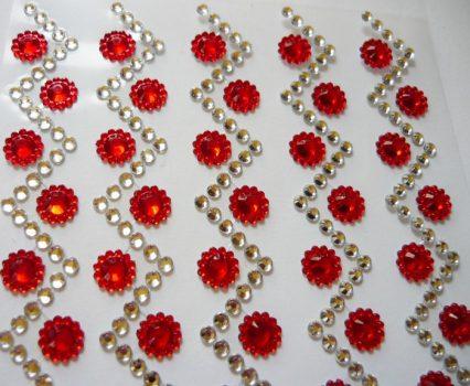 Piros pöttyös cikk-cakk, öntapadós dekorkövek