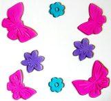 Pillangók és virágok, zselés ablakmatrica