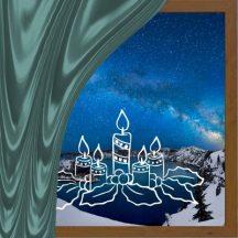 Gyertyák, karácsonyi matrica kirakatra a Dekormatricák webáruháztól