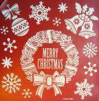 Karácsonyi kopogtató, csillámos ablakmatrica