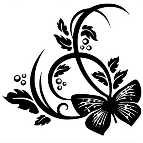 Nonfiguratív virág pillangóval, dekormatrica