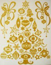 Karácsonyfa, arany csillámos karácsonyi ablakmatrica a Dekormatricák webáruházban