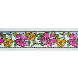 Színes futóvirágok, bordűr kontúrmatrica falmatrica
