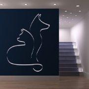 Kutya-macska barátság, faltetoválás a Dekormatricák webáruházban