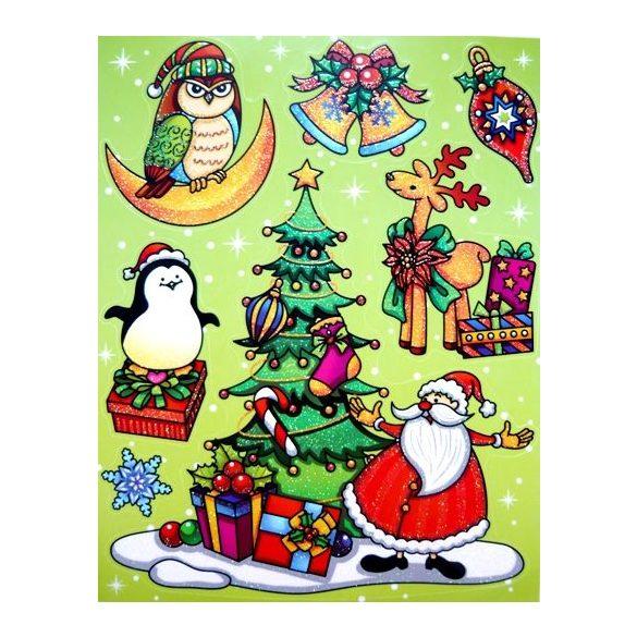 Télapó itt van, színes, csillámos karácsonyi ablakmatrica a Dekormatricák webáruházban
