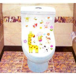 Zsiráf állatkákkal, toalett díszítő matrica
