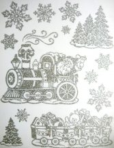 Mikulás vonattal, ezüst csillámos karácsonyi ablakmatrica
