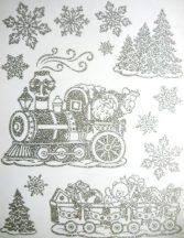 Mikulás vonattal, ezüst csillámos ablakmatrica karácsonyra a Dekormatricák webáruházban