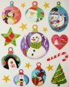 Gömbdíszek, csillámos karácsonyi ablakmatrica