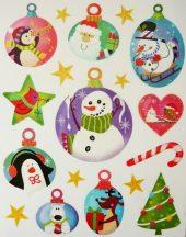 Gömbdíszek, csillámos karácsonyi ablakmatrica a Dekormatricák webáruházban