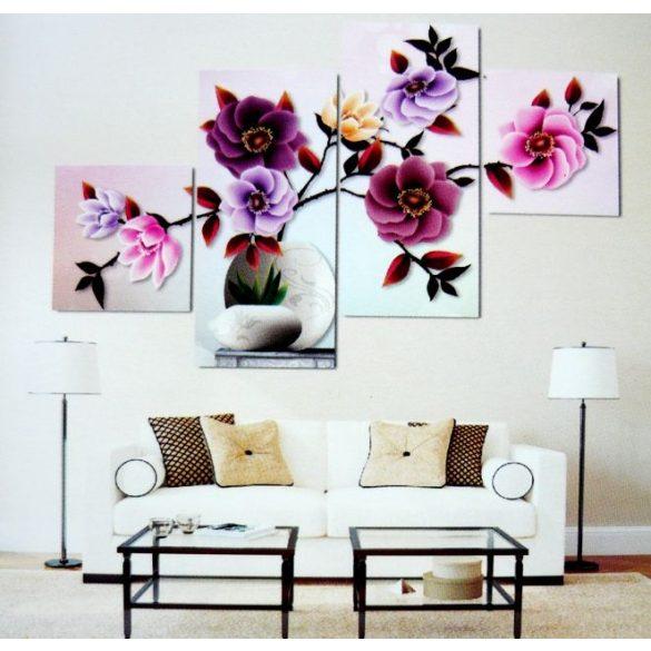 Színes virágok, 4 részes, 3D falmatricaszett