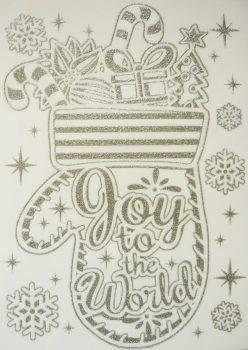Öröm, ezüst csillámos karácsonyi ablakmatrica a Dekormatricák webáruházban