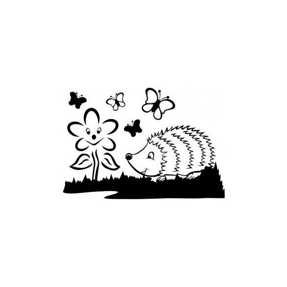 Süni virággal és pillangókkal