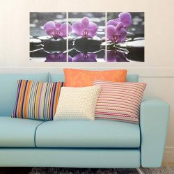 Orchideák kövekkel, 3 részes falikép, falmatrica szett
