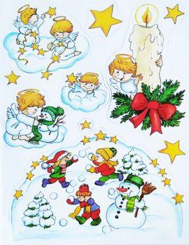 Gyertyák, arany csillámos karácsonyi ablakmatrica a Dekormatricák webáruházban