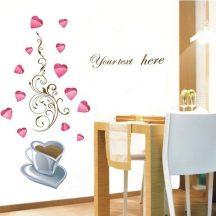 Forró kávé szívecskékkel, falmatrica konyhába a Dekormatricák webáruházban