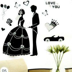 Esküvő, ezüst glitteres, köves falmatrica a Dekormatricák webáruházban