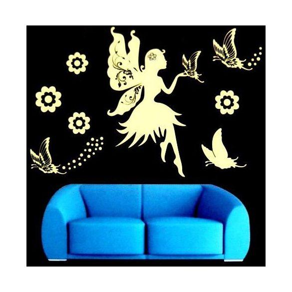 Tündér pillangókkal, éjjel világító falmatrica, magenta