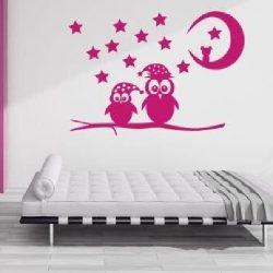 Baglyok éjjel gyerekszoba falmatrica a Dekormatricák webáruházból
