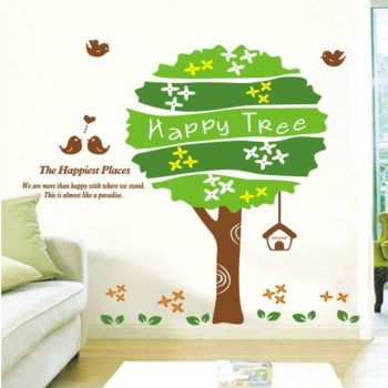 Boldogságfa madarakkal, falmatrica