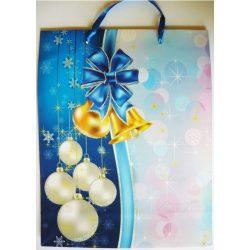 Kék, csillámos karácsonyi ajándéktáska, L méret a Dekormatricák webáruháztól