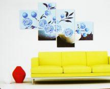 Kék rózsák, 4 részes, 3D falmatricaszett
