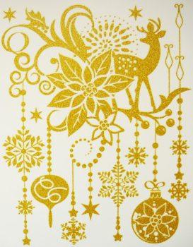Karácsony, arany csillámos karácsonyi ablakmatrica a Dekormatricák webáruházban