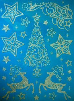 Karácsonyi éjjel, ezüst csillámos karácsonyi ablakmatrica