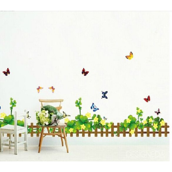 Virágoskert lóherékkel, falmatrica