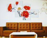 Piros és fehér virágok, 4 részes, 3D falmatricaszett